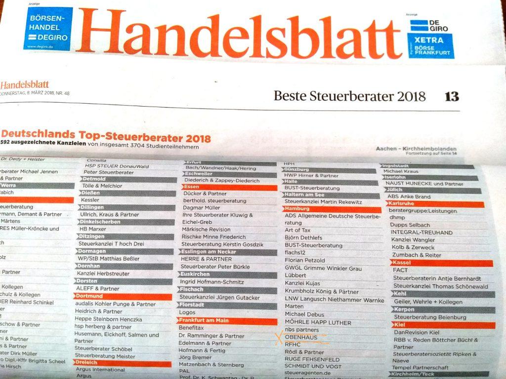 Handelsblatt kürt Deutschlands Top-Steuerberater 2018 - OBENHAUS Anwaltskanzlei für Steuerrecht ist dabei