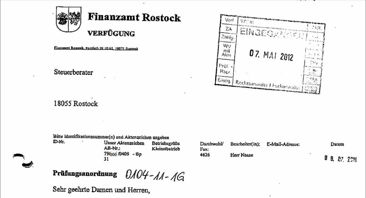 Prüfungsanordnung des Finanzamtes Rostock
