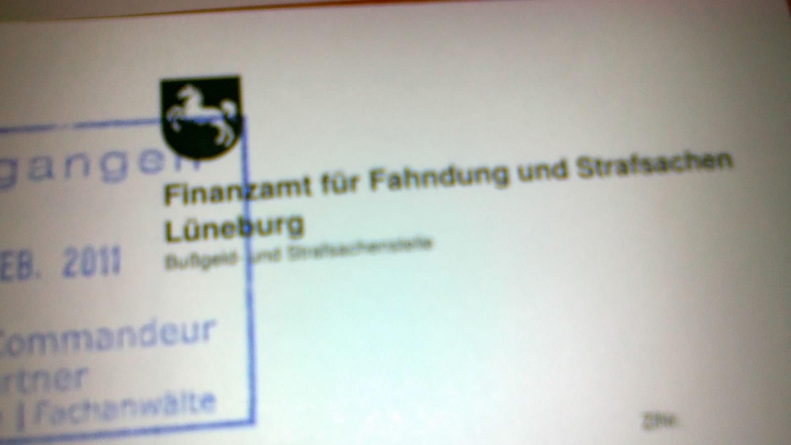 Briefkopf eines Schreibens der Steuerfahndung Lüneburg - Finanzamt für Fahndung und Strafsachen